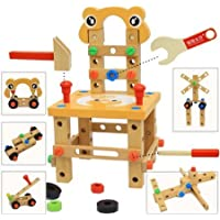 Augenblick DIY Screw Block Activity Working Chair Construction Sets 52 Lovely Pieces Wooden Toys [並行輸入品]