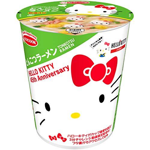 ハローキティ45周年お祝いカップ麺(とんこつラーメン)の通販の画像