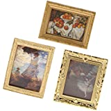 Prettyia 3 Pieces Miniature Golden Frame Mural Paintings Photos for 1/12 Dollhouse Drawing Room Wall Decoration