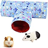 DoubleWood Small Animal Play Tunnel, Collapsible Pet Toy Tunnel for Hamster, Guinea Pig, Chinchillas, Ferrets, Gerbils, Mice, Rats, Squirrels and Gerbils (Blue)