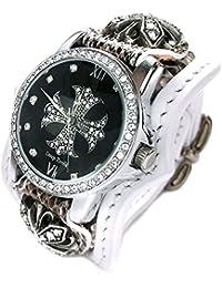 腕時計 メンズ 革 ホワイトレザー 蛇革ベルト ジルコニア クロス 文字盤 ブレスウォッチ ジルコニアクロス コンチョ CWLBW019