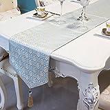 QiangZi ブルーシンプルなテーブルランナー ラグジュアリーファブリックフィールジャカードファブリックリビングルームキッチン33 * 250cm ( 色 : Style2 , サイズ さいず : 33*160cm )