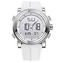 「ビンズ」BINZI スポーツ腕時計 ファッション デジタル アナログ 多機能 LED クロノグラフ 日付曜日表示 BZ-9368W ホワイト メンズ