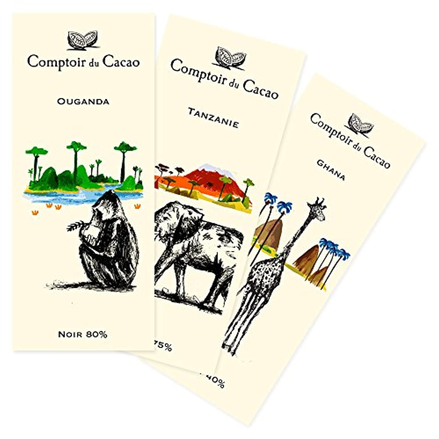 追い出すシンポジウム独裁コントワール?デュ?カカオ Comptoir du Cacao サファリチョコレート(板チョコレート)3 種セット
