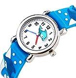Vinmori子供腕時計 クオーツ 多色の3D超可愛い 新款 小学生 男の子 女の子 (イルカ -ブルー)
