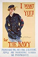 US Navyヴィンテージポスター–I Want You For The Navy 9 x 12 Art Print LANT-51393-9x12