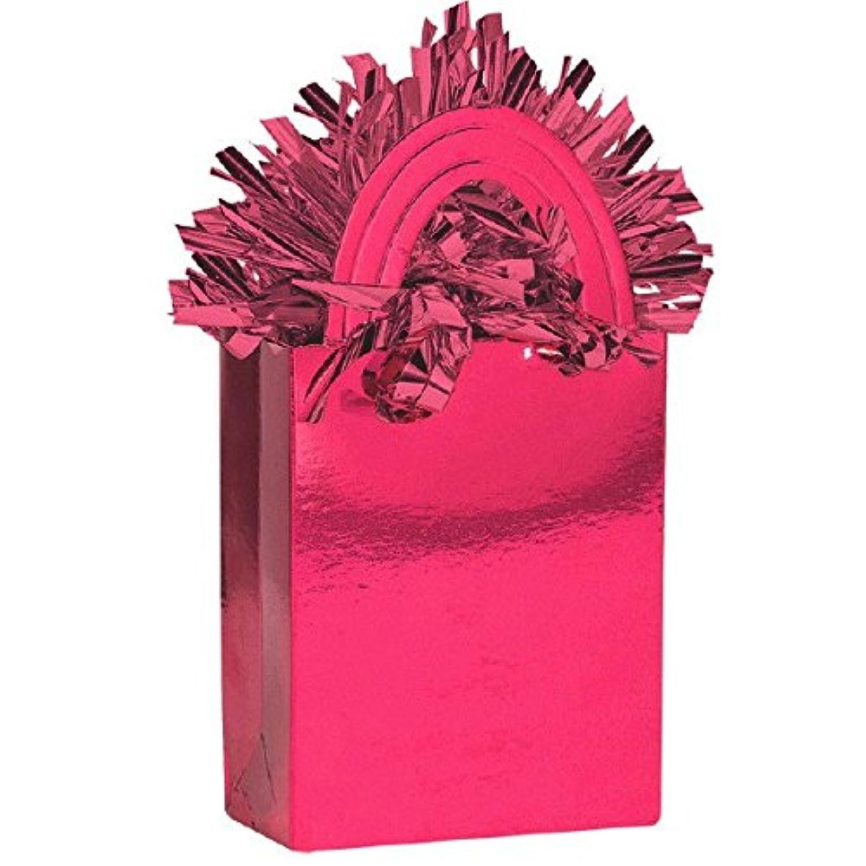明るいピンクMiniトートバッグパーティーバルーン重量装飾、カードストック、5.7 Oz。。