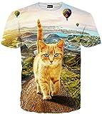 (ピゾフ)Pizoff メンズ 半袖 猫柄 かわいい おもしろ 肌触り 個性 贈り物 TシャツC7058-09-S