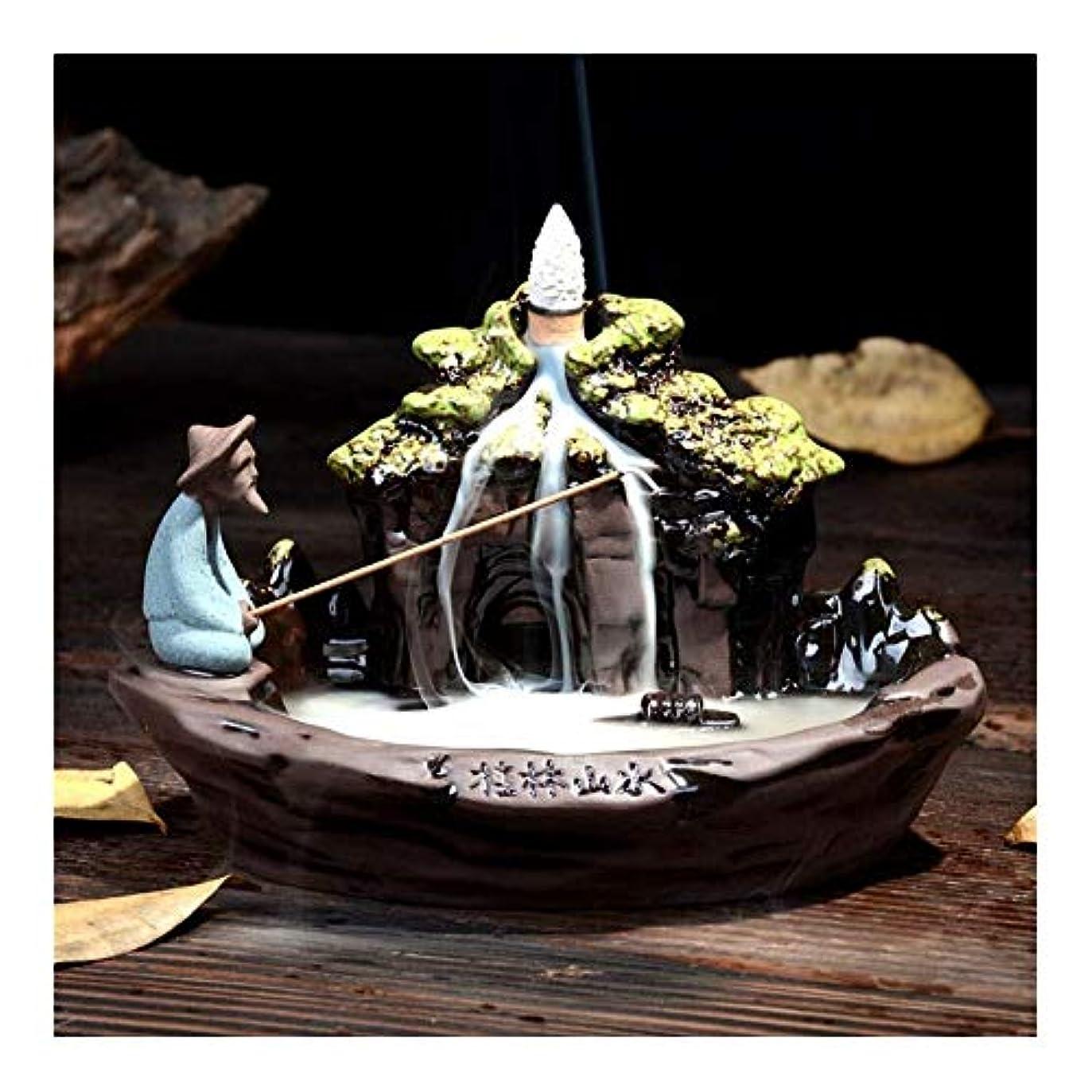 マエストロ第九おじいちゃん家の装飾のための逆流香船釣りロッドホルダーセラミック香香炉の煙の逆流