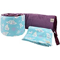 My Blankee 2 Piece Butterfly Blue Crib Set White/Plum Minky Dot [並行輸入品]