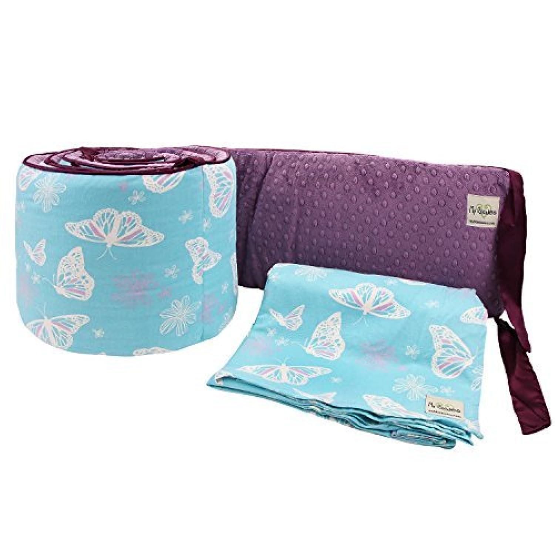 My Blankee 2 Piece Butterfly Blue Crib Set White/Plum Minky Dot [並行輸入品]