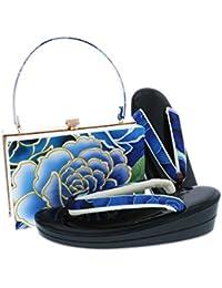 [ 京都きもの町 ] 振袖 草履バッグセット 黒色 ブルー薔薇 Lサイズ 成人式 二枚芯 フォーマル 和装バッグ