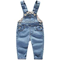 Kidscool Baby & Little Boys/Girls Stone Washed Big Bib Jeans Overalls