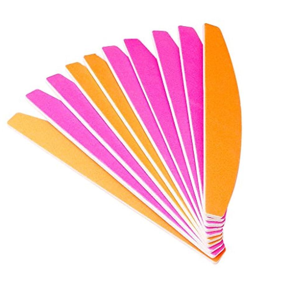 悪化するベックス手順ジャッキーハーフムーン型蛍光砂バー(変色)ポータブルネイルアートサンディングファイルバッファーブロックマニキュアのヒントUVジェルポリッシャーツール