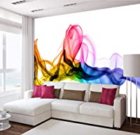 Lcymt 現代抽象アートカラー煙写真壁画壁紙人格リビングルーム研究ギャラリー家の装飾フレスコ壁紙-250X175Cm