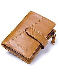 DZET 財布 メンズ 本革 二つ折り財布 牛革 ラウンドファスナー 小銭入れ 免許証入れ カード8枚収納 コンパクト 柔らかい