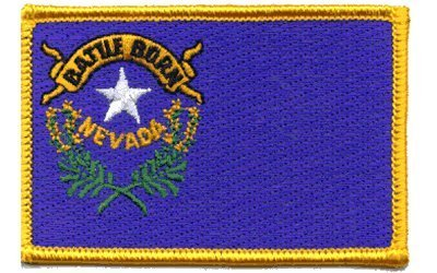 """The Flag of NEVADA State PATCH, Superior Quality Iron-On / Saw-On Embroidered Patch - Each one is individually carded and sealed in a professional retail package - 3.5"""" x 2.25"""" Inches - Made in the USA"""