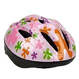 ヘルメット 子供用 軽量 3-7歳 helmet 9ホール シンプル スポーツ スケートボード キックボード ローラー スケート ウォーター スポーツ ピンク花柄 (形1)