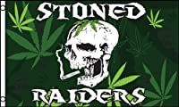 Stoned Raiders Marijuana Skulls FLAG, 3'x5' Rasta bong cloth poster by bong [並行輸入品]