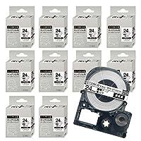 キングジム用 テプラ PRO用 ST24KW 互換 透明ラベル テープカートリッジ 強粘着 24mm 透明テープ 黒文字 10個セット