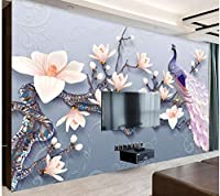 Mingld 写真の壁紙3Dステレオレリーフマグノリア孔雀花壁画リビングルームテレビソファ寝室の背景壁3Dインテリア-280X200Cm