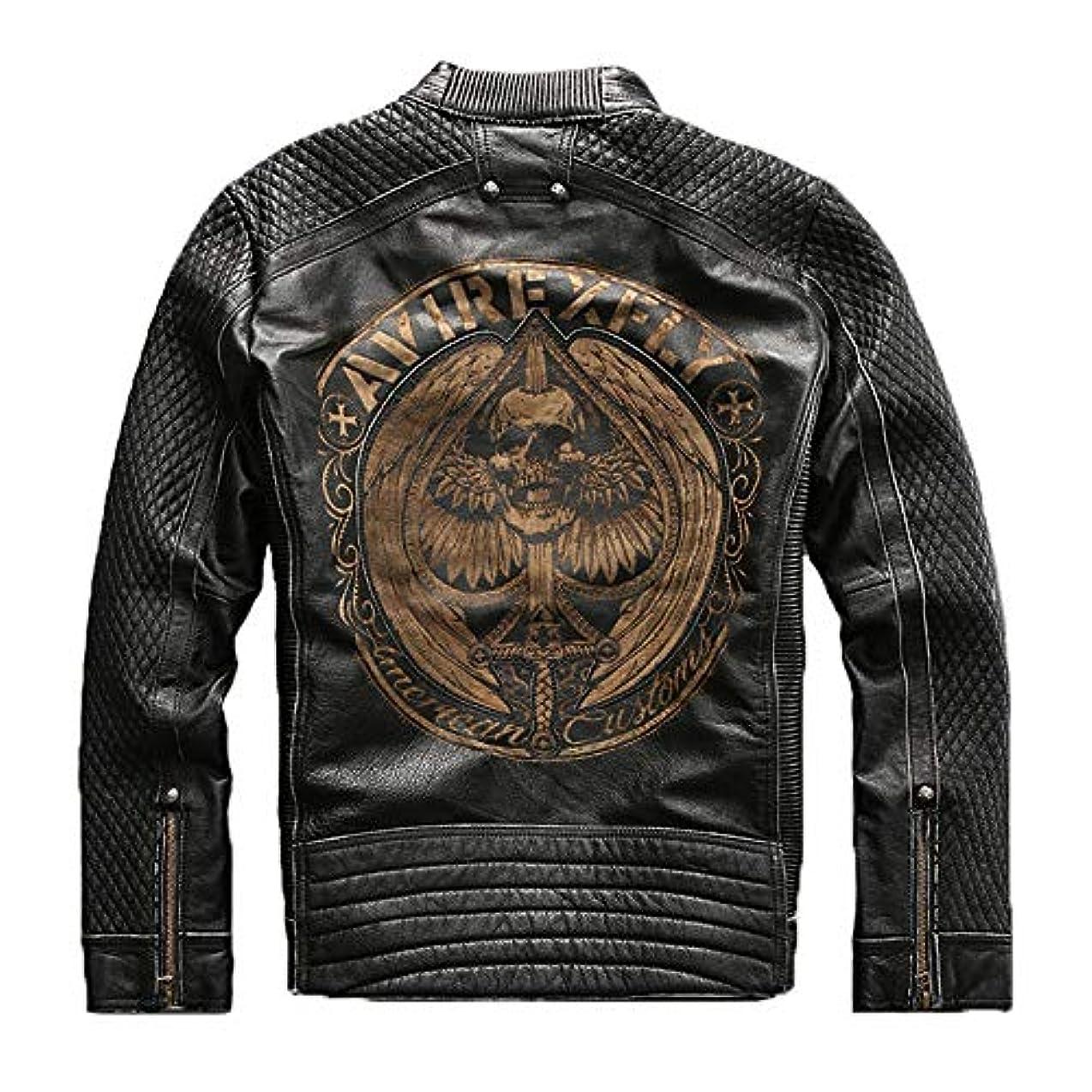 彼篭位置する[XRX] 牛革 バイク用ジャケット メンズ 本革ジャケット 防風防寒 秋冬 レザージャケット