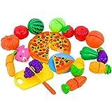 Outfun 24個 果物 野菜 ピザ スライス セット 子供たち  キッチン ロールプレイ  楽しい おもちゃ