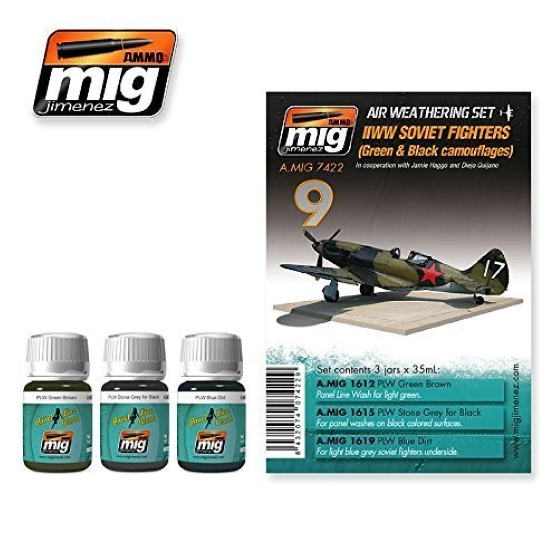 Ammo of Mig WW II SOVIET aeroplanes Green & Black Camo. SET 3 Jars 35ml 7422