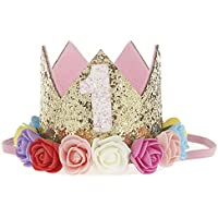 Liebeye 帽子 誕生日 王冠 数字 スタイリッシュ 子供 ローズ クラウン 髪アクセサリー 飾り 誕生日 高級感 誕生日お祝い かわいい ギフト カラフル 1