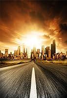 aofoto 5x 7ft女の子写真スタジオの背景幕幼児用写真撮影背景Holiday Urban Buildings Blurry Road Sky Cloud子供キッド少年ArtisticポートレートCity風景ビデオPropsデジタル