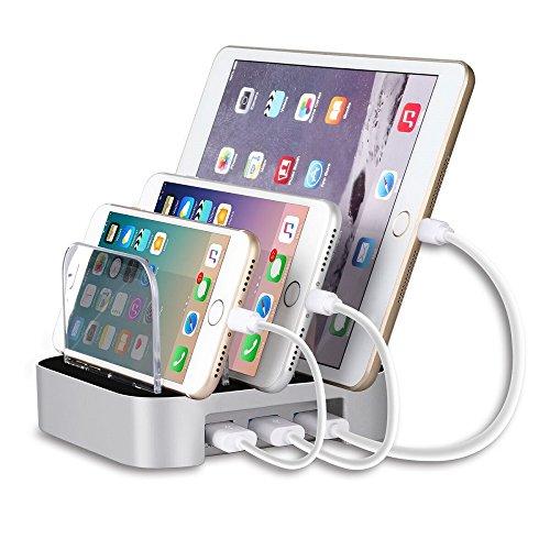 MixMart 3ポートUSB 充電スタンド チャージャーステーション 多功能充電スタンド 充電器 スマートフォンスタンド タブレット対応 3個USBポート同時充電 iphone iPad対応(シルバー)