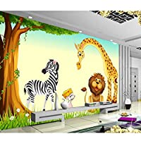 3D写真壁紙不織布壁画、写真キリンゼブラライオン3D壁壁画、壁部屋装飾絵画用の壁紙280 cm(W)x 180 cm(H)