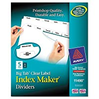 Index Maker with Bigタブ、11 x 8 – 1 / 2、5-tab、ホワイト – ave11490