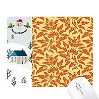オレンジ色の金色の装飾的な古典的な花 サンタクロース家屋ゴムのマウスパッド