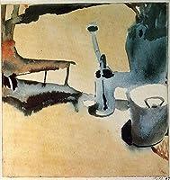 手描き-キャンバスの油絵 - Flower stand with watering can and bucket Paul Klee 芸術 作品 洋画 ウォールアートデコレーション -サイズ14