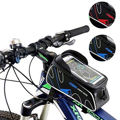 自転車 トップチューブバッグ サイクリングフレームバッグ 収納可能 防水 サドルバッグフロントバッグ かんたん装着 6.0インチ対応 iPhone6 6S/Samsung/Sonyなど対応 全4色 (ブルー)