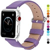 Fullmosa Apple Watch対応 バンド ベルト アップルウォッチバンド42mm/44mm apple watch 4 3 2 1 バンド 本革レザー 交換バンド ラグ付き 42mm/44mm パープル