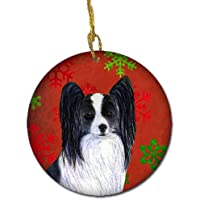 Carolines Treasures SS4712-CO1 Papillon Red Snowflakes Holiday Christmas Ceramic Ornament