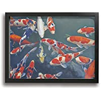 BLI BYAN コイ 魚 木製の枠 水彩画 油彩 フレームレス装飾画 壁掛け 人と自然 クジラ 印刷する絵画 アートパネル 玄関 インテリア タペストリー おしゃれ 部屋