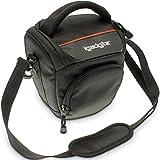 iGadgitz Small Black Water-Resistant SLR DSLR Bridge Camera Holster Travel Bag Case with Shoulder Strap