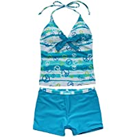 FEESHOW Girls' 2 Piece Tankini Set Swimsuit Swimwear Bathing Suit