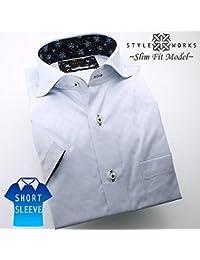 (スタイルワークス) メンズ半袖ワイシャツ カッタウェイ ワイドカラー | 青