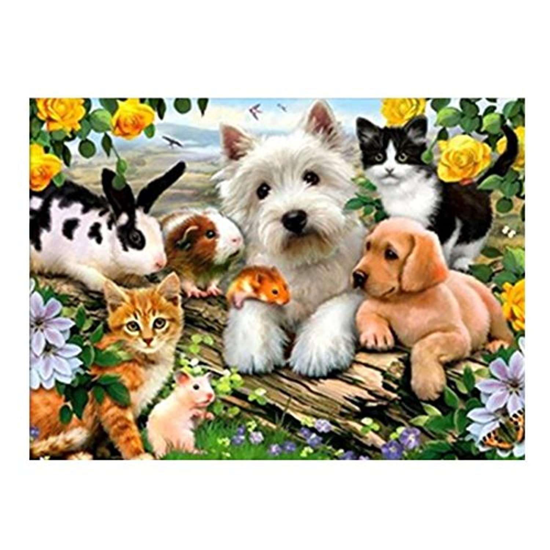Demiawaking 5D ダイヤモンド絵画セット クロスステッチ 動物 犬?猫?鼠?兎 樹脂ラインストーン 貼れる インテリア装飾 40 x 30cm