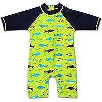 Digirlsor Baby Toddler Boys One Piece Rash Guard Swimsuit Long Sleeve Sunsuit UPF 50+ UV Swimwear Bathing Suit 1-6Y