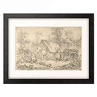 フランソワ・ブーシェ Francois Boucher 「A Cottage, ca. 1500-1900.」 額装アート作品