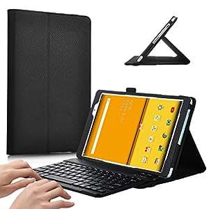 【IVSO】Huawei MediaPad M3 8.4 /NTT docomo dtab d-03Gケース,Huawei MediaPad M3 8.4 保護ケース,Huawei MediaPad M3 8.4 キーボード PUレザーケース マグネット着脱可能 一体型Bluetoothワイヤレスキーボード(ブラック)