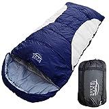 【SOUTH WIND】丸洗いのできる BIGサイズ 寝袋 シュラフ 封筒型 耐寒温度 -5℃ コンパクト収納 オールシーズン (ネイビー×ホワイト)