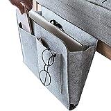 Dewsshine Upgraded Thick Bedside Caddy Essentials Pocket Hanging Storage Organizer, Bed Sofa Side Hanger Holder Bag for Dorm TV Remote Control, Phones, Magazines, Tablets(Grey