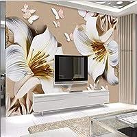 Wuyyii 大カスタム壁紙ユリレリーフYulan 3Dテレビの背景壁のリビングルームの寝室の装飾絵画 - 120×100センチ