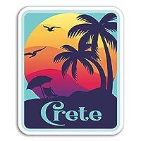 2×10センチメートルクレタ島ビニールステッカー - ギリシャ楽しい旅行ステッカーノートパソコンの荷物の#18174(10センチメートルトール)